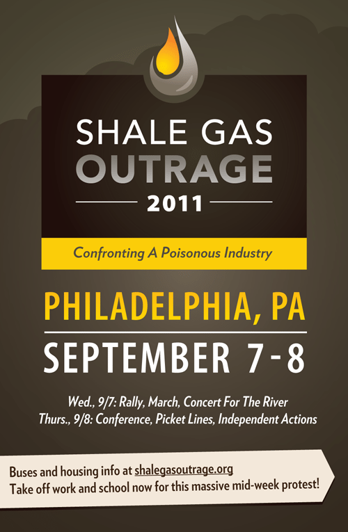 Shale Gas Outrage flyer promoting the protest of the Marcellus Shale Coalition's annual conference